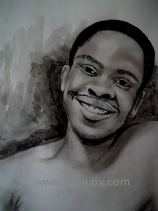 Black monochrome portrait pencil on paper draw by artistchembx uche