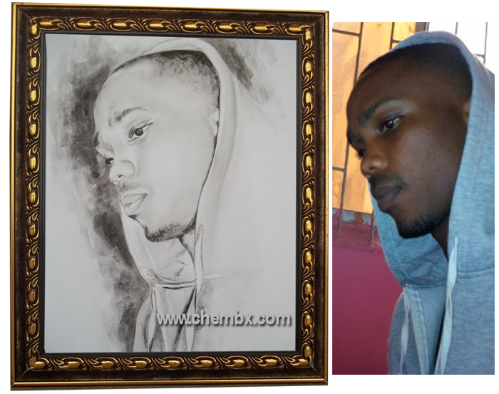 Pencil portrait artwork on card